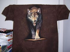wolf tye-dye new tee shirt charging at me with mouth open size XXL   #Unbranded #BasicTee