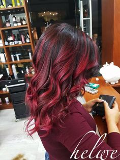 Long Golden Brown Curls - 50 Best Eye-Catching Long Hairstyles for Black Women - The Trending Hairstyle Red Balayage Hair, Red Ombre Hair, Red Hair Color, Cool Hair Color, Black Hair With Red Highlights, Hair Highlights, Cute Hair Colors, Beautiful Hair Color, Sunset Hair