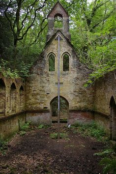 This Victorian schoolhouse and church is near Petworth, West Sussex, England ~ abandoned in 1959.