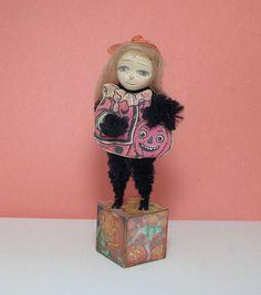 Halloween vintage style art doll decoration by folk art Antiquememories, $14.99