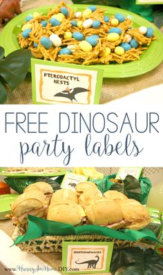 Visit hunnyimhomediy.com to check out my dinosaur birthday party and get access to free printable dinosaur party food labels.
