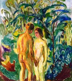 Naked man and Woman in the Woods Edvard Munch - 1919-1925