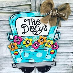 Spring Flower Bed Truck Wooden Cut Out Door by TheWaywardWhimsy