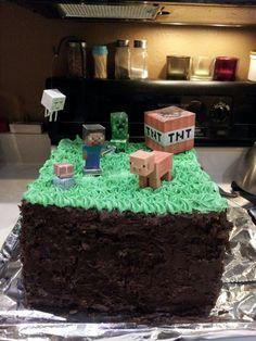 homemade minecraft cake - Google Search