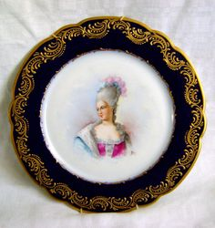 ANTIQUE SEVRES FRANCE HANDPAINTED  Mme de POMPADOUR  9 3/4  PLATE - SIGNED NEY