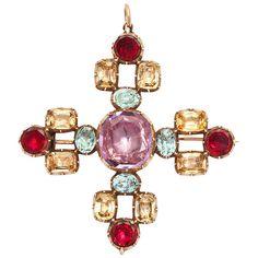 Georgian Garnet Pink and Precious Topaz Maltese Cross Pendant. Garnet, pink and precious topaz, Maltese cross pendant, set in gold. c1790