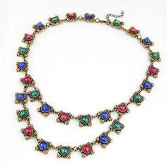 Vintage Dual Layer Design Colorful Gems Fashion Necklace