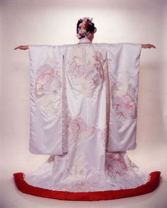 My wedding kimono from 1997. I used parts of a real Japanese wedding kimono, resizing the finished garment so it would fit me!