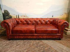 12650 Chesterfield Couch Sofa 2,5-Sitzer Schafsleder Rotbraun echt Leder in Möbel & Wohnen, Möbel, Sofas & Sessel | eBay