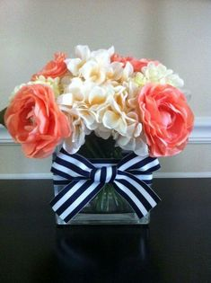 Using real flowers, though. Nautical Wedding Centerpieces by LoveNautical on Etsy Nautical Wedding Centerpieces, Nautical Wedding Theme, Wedding Colors, Wedding Flowers, Wedding Decorations, Simple Centerpieces, Nautical Party, Flower Centerpieces, Wedding Table