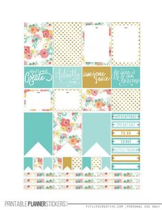 printable planner stickers - floral with banners borders, flags, titles etc