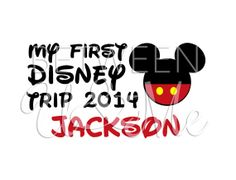 My First Disney Trip with Name Ears Buttons Mickey Mouse Disney Iron On Decal Vinyl for Shirt