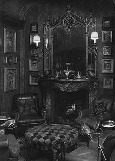Gothic-style sitting room: a bit too intense for most home decor, but amazing nonetheless.