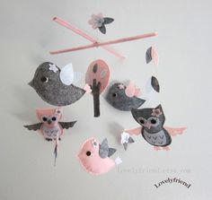 Sweet Pink Day Mobile - Baby Mobile - Baby Hanging Crib mobile - Grey and Soft pink Owls (Choose Your Felt Color) on Etsy, $78.00
