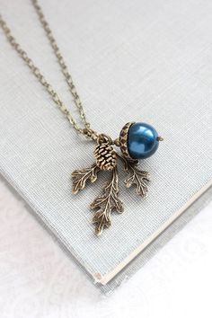 Navy Pearl Acorn Necklace Rustic Nature Charm by apocketofposies