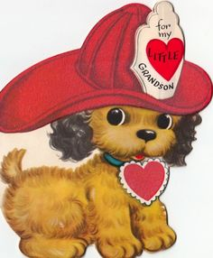 Vintage Greeting Card Valentine Dog Firefighter Pup Flocked 1950s FIreman A-46