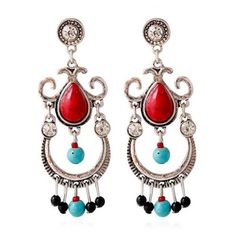 Faux Ruby Turquoise Water Drop Earrings ($2.49) ❤ liked on Polyvore featuring jewelry, earrings, artificial jewelry, artificial jewellery, ruby jewelry, fake earrings and green turquoise jewelry
