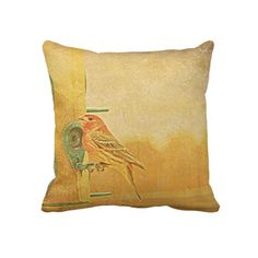"""A Little Finch On A Perch"" design by Kay Novy  kkphoto1  http://www.zazzle.co.uk/a_little_finch_on_a_perch_throw_pillow-189842759626972565"