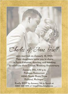 50th Wedding Anniversary Invitation   Golden Photo