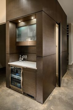 all wood and shape of top cabinet more square and flat wood door