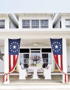 porch- i like the curtain idea Fourth Of July Decor, 4th Of July Decorations, July 4th, House Decorations, Farmhouse Style Decorating, Porch Decorating, Decorating Ideas, Holiday Decorating, Farmhouse Decor