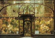 """"""" Flower-shop, Brussels, designed by Paul Hankar, XIX century. """" This is literally the perfect, most fitting sort of thing to put in the window of an Art Nouveau front like this. One of the things I enjoyed about Brussels was the Art Nouveau. Flores Art Nouveau, Art Nouveau Flowers, Architecture Art Nouveau, Interior Architecture, Interior And Exterior, Interior Design, Art Deco, Beautiful Buildings, Beautiful Places"""