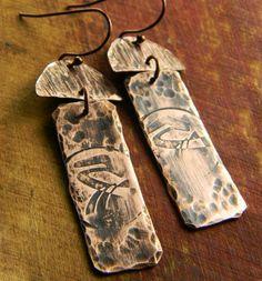 Rustic Tribal Copper Earrings Hand Forged OOAK | ChrysalisJewelry - Jewelry on ArtFire