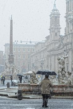 Italy. Rome in snow, Piazza Navona