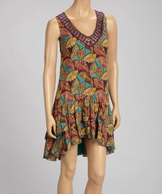 Comfortable and cute. Another great find on #zulily! Purple Leaf V-Neck Dress #zulilyfinds