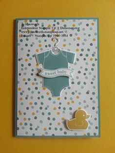 www.johooworth.stampinup.net Stampin' Up! Something for Baby Moonlight card - boy Lost Lagoon, Whisper White, Moonlight DSP Stack, Hello Honey, Smoky Slate, Something for Baby, Itty Bitty Banners, Baby's First Framelits, Bitty Banners Framelits