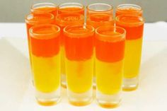 Candy Corn Jell-O Shots  IF I ever have a Halloween party ... I don't like Jell-o shots, but I know LOTS of people that do!!
