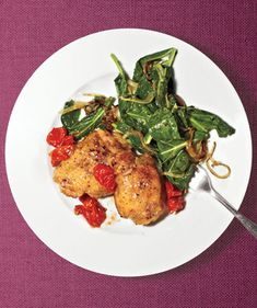 Get the recipe for Roasted Chicken With Collards.