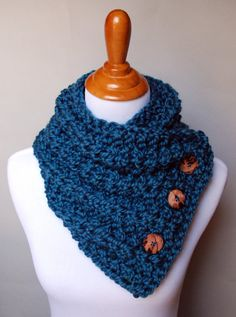 Knit Button Cowl Teal Blue Wool and Acrylic by TheKnottyNeedle, $30.00