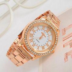 EUR € 8.63 - [XmasSale]strass horloge van de vrouwen grote wijzerplaat rose gouden horloge, Gratis Verzending voor alle Gadgets!