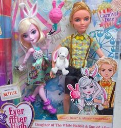 Ever After High Bunny Blanc and Alistair Wonderland Carnival Date 2-pack. Credit to: Ever After High Dolls on Facebook