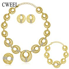 CWEEL Jewelry Sets For Women Wedding Party Necklace Set Fashion Imitated Crystal Gold Color Pendant Costume Bridal Accessories