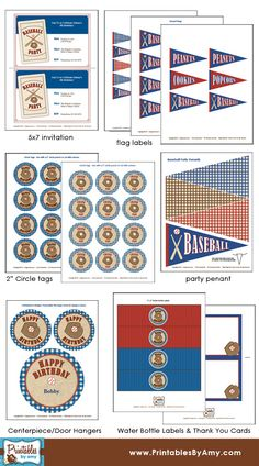 Baseball Party Printable Collection. Designed by Amy Locurto at LivingLocurto.com. Shop at shop.livinglocurto.com