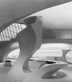 TWA Terminal at Idlewild (now JFK) Airport, Eero Saarinen, New York, NY | From a unique collection of black and white photography at https://www.1stdibs.com/art/photography/black-white-photography/