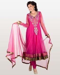 Pink Net Anarkali Suit with Sequined Velvet Front