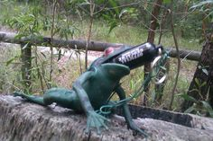 A frog with a mouth full of geocache.