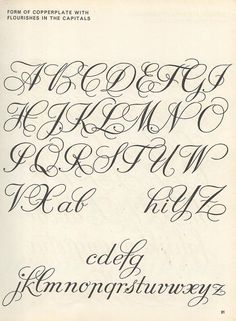 vintage script alphabet ~ Script Lettering (1957), M. Meijer ~ form of copperplate with flourishes in the capitals: