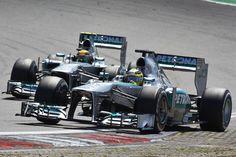 Lewis Hamilton und Nico Rosberg beendeten den Großen Preis von Deutschland auf dem Nürburgring auf den Positionen fünf und neun