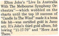 John, Elton / Live In Australia - Certified Gold | Magazine Article (1988)