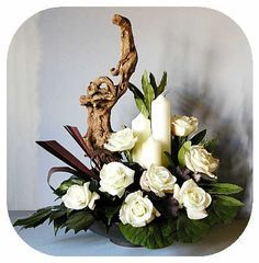 Funeral-Replace wood piece with statue possibly. Rhododendron, Bergenia, Mahonia bealii, and Phormium tenax purpureum Silk Floral Arrangements, Contemporary Flower Arrangements, Candle Arrangements, Christmas Flower Arrangements, Christmas Flowers, Beautiful Flower Arrangements, Unique Flowers, Beautiful Flowers, Purple Flowers