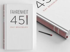 Fahrenheit 451 is a novel about a dystopian future where books are outlawed and firemen burn any house that contains them. The story is about suppressing ideas, and about how television destroys interest in reading literature. I wanted to spread the book-burning message to the book itself. The book's spine is screen-printed with a matchbook …