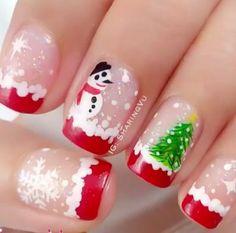 Festive Nail Art Designs for Christmas Xmas Nail Art, Cute Christmas Nails, Holiday Nail Art, Xmas Nails, New Year's Nails, Merry Christmas, Christmas Snowman, Diy Christmas, Christmas Wreaths