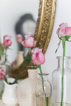Pink roses in glass