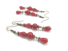 Ruby Agate Earrings, Long dangle earrings,  Dark Red Raspberry Pink, antique copper accents, Bohemian Gemstone Jewelry,  matching necklace - pinned by pin4etsy.com