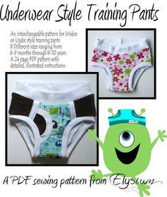 The Underwear Style Training Pants Pattern by Sweetelysium on Etsy Training Pants Pattern, Cloth Training Pants, Sewing Projects For Kids, Sewing For Kids, Baby Sewing, Sewing Ideas, Sew Baby, Diy Projects, Underwear Pattern