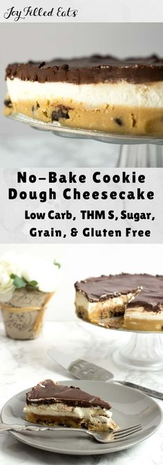 KETO Cookie Dough Cheesecake - Low Carb, Gluten Free, THM S. With a layer of raw chocolate chip cookie dough, a layer of creamy cheesecake, and a layer of rich chocolate ganache my No Bake Cookie Dough Cheesecake may be the best dessert ever. No Bake Cookie Dough, Cookie Dough Cheesecake, Low Carb Cheesecake Recipe, Chocolate Chip Cookie Dough, No Bake Cookies, Keto Cookies, Diabetic Cheesecake, Instapot Cheesecake, Ultimate Cheesecake
